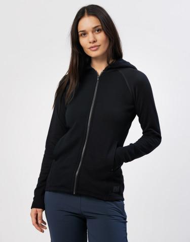 Hættetrøje i uldfrotté med lommer sort