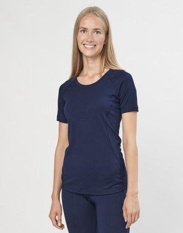 T-shirt til damer - økologisk eksklusiv merino uld navy