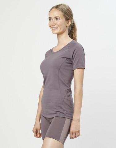 T-shirt til damer - økologisk eksklusiv merino uld lavendel grå