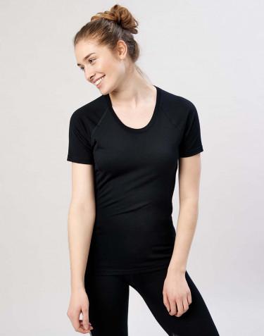 T-shirt til damer - økologisk eksklusiv merino uld sort