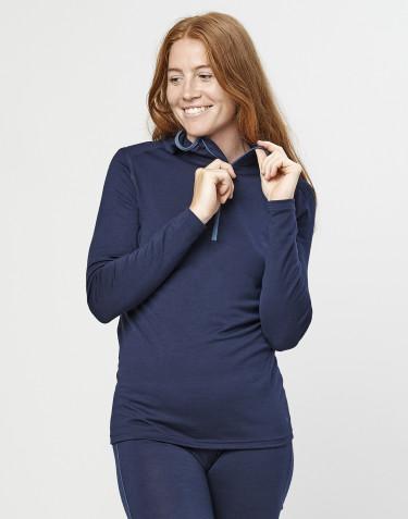 Trøje med hætte til dame - økologisk eksklusiv merino uld navy