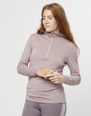 Trøje med hætte til dame - økologisk eksklusiv merino uld gammelrosa