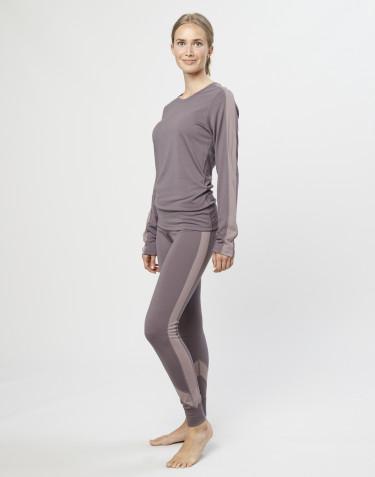 Uldleggings til damer eksklusiv merino uld lavendel grå