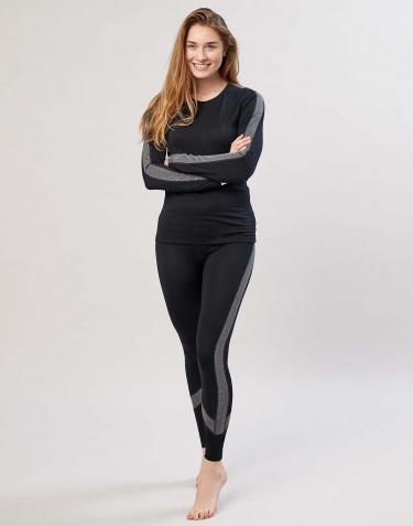 Uldleggings til damer eksklusiv merino uld sort