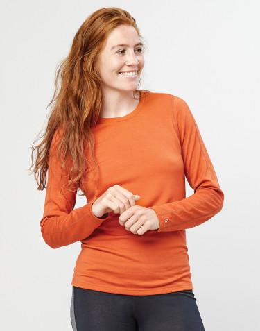Uldtrøje til dame - økologisk eksklusiv merino uld brændt orange