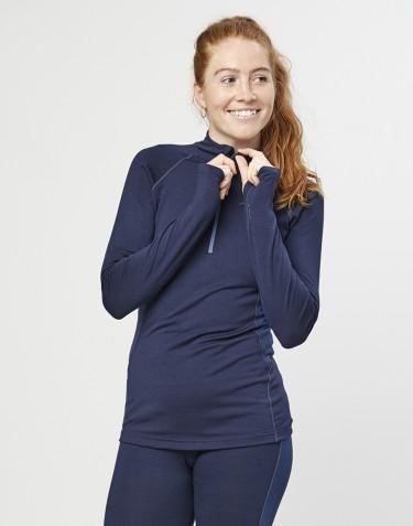 Trøje med lynlås til dame - økologisk eksklusiv merino uld navy