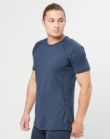 T-shirt herre - økologisk eksklusiv merino uld Gråblå