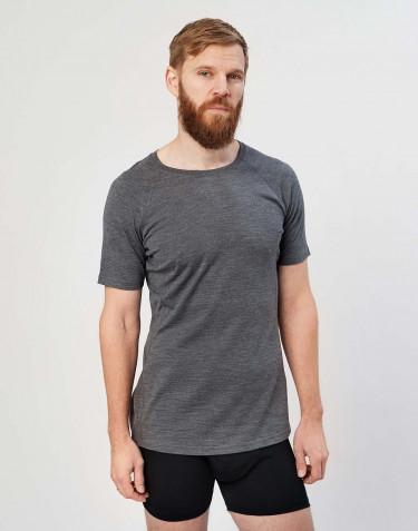 T-shirt herre - økologisk eksklusiv merino uld Mørk gråmelange