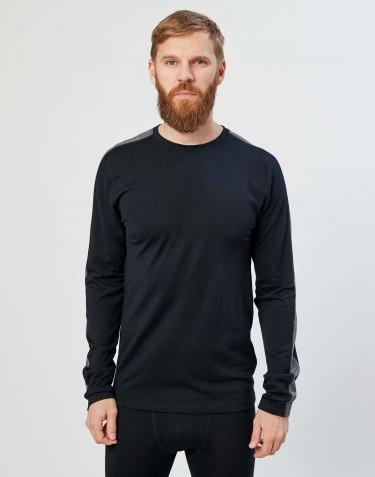 Herre trøje m. lange ærmer i økologisk eksklusiv merino uld sort