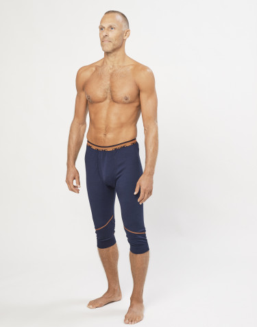 Korte leggings til herre - økologisk eksklusiv merino uld Navy