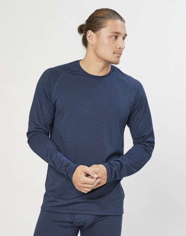 Herretrøje i økologisk eksklusiv merino uld Gråblå