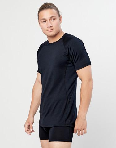 T-shirt herre - økologisk eksklusiv merino uld Sort