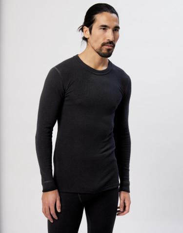 Langærmet herre trøje i merino uld/silke sort