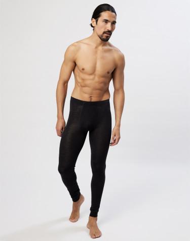 Økologisk merinould/silke lange underbukser med gylp til mænd