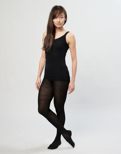 Strømpebukser til kvinder i merino uldrib sort