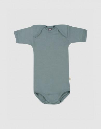 Merinould body med korte ærmer til baby