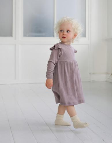 Merinouldkjole med flæser til baby