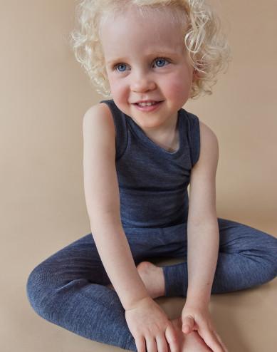 Leggings til baby i økologisk uld-silke blå melange