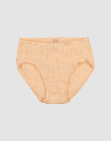 Merinould/silke trusser med hulmønster til børn