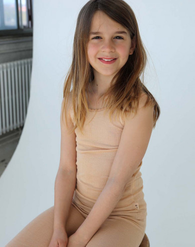 Merinould/silke undertrøje med hulmønster til børn