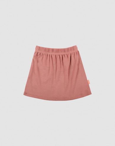 Nederdel i merino uld til børn mørk rosa