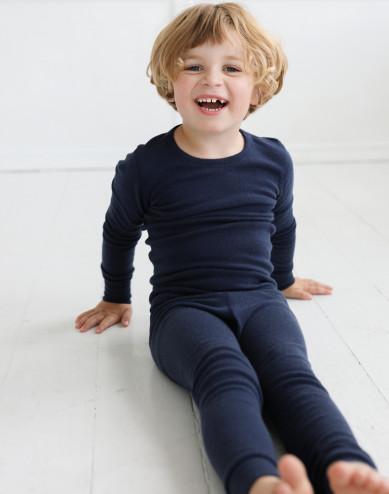 Merinouldbluse med lange ærmer til børn