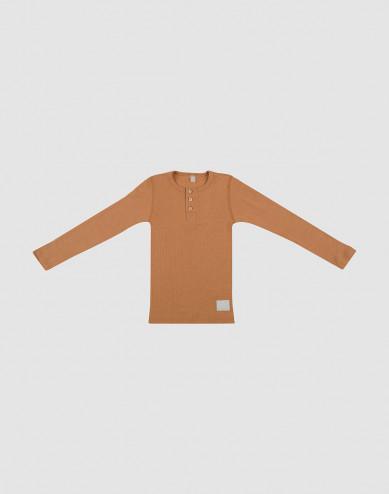 Børne trøje med knapper i uldrib karamel