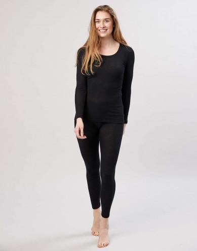 Merino uldleggins med bred elastikkant til damer sort