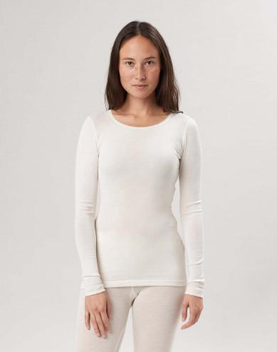 Merinould/silke bluse med lange ærmer til kvinder