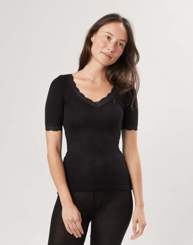 Merinould/silke T-shirt med blondekant til kvinder