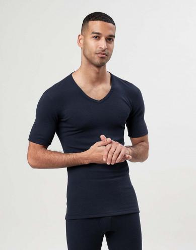 Merinould T-shirt med V-hals til mænd
