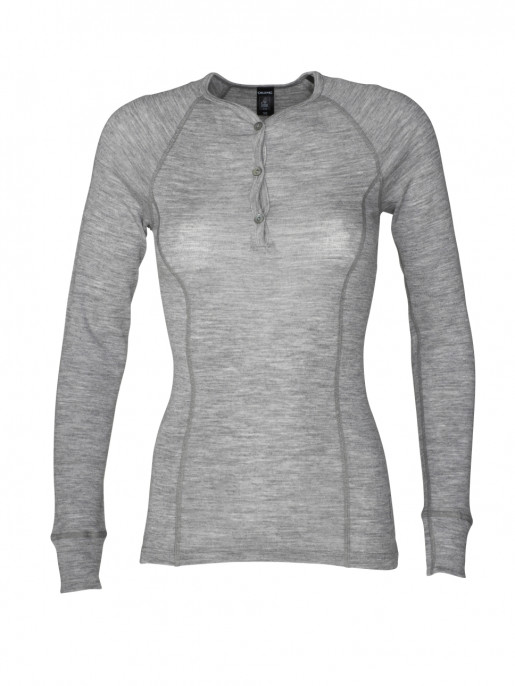 Langærmet merino uldtrøje til damer grå | DILLING underwear